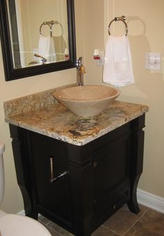 Brown Marble Cone Sink With Brown Marble Vanity And Dark Brown Wooden Cabinet Of What You Small Bathroom