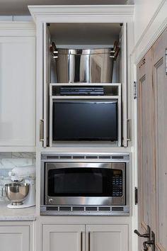 Hidden Kitchen TV in Cabinet with Retractable Doors, Transitional, Kitchen