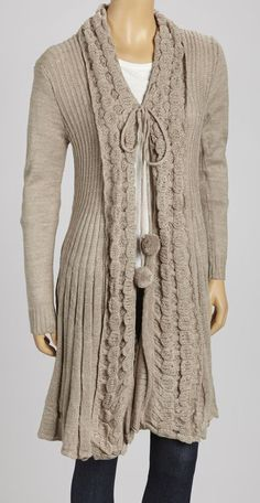 Taupe Pom-Pom Sweater Cardigan