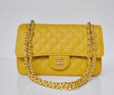Medium Flap in Yellow Caviar Leather with Gold Chain