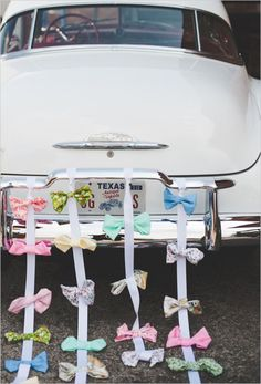 Vintage Wedding Car Decoration - ribbons
