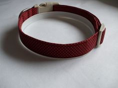 Handmade Cotton Dog Collar - Rust with Pin Dots by WalkingTheDog on Etsy