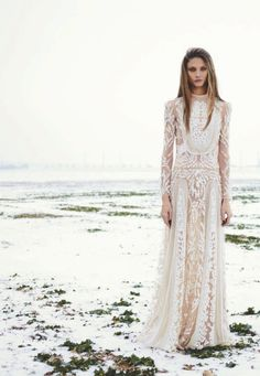 Winter Wedding Inspiration / Long Sleeve Embroidered Gowns / Mauve Lips. (instagram: the_lane)