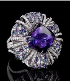 KSK⊱✿⊰LUXURY Connoisseur ⊱✿ ⊰Jay Carlile Amethyst Ring / cabochon amethyst stone set with diamonds and amethysts Purple Jewelry, Amethyst Jewelry, I Love Jewelry, High Jewelry, Jewelry Accessories, Jewelry Design, Amethyst Stone, Diamond Jewelry, Schmuck Design