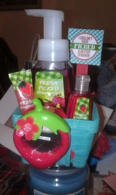 Teacher Appreciation Week Gift!  I purchased the berry baskets from bakeitpretty.com, everything else from Bath and Body Works