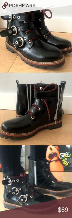 Zara Leather Biker Moto Combat Boots 36/6 NWT ZARA Leather Biker Boots With Buckles Side Zipper Size 36/6. Color: Black. Condition NWT (no box).   100% leather. Made in Spain. Zara Shoes Combat & Moto Boots