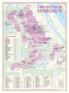 Carte des vins de Margaux: Ce document cartographique de format 30 x 40 centimètres, présente de manière très détaillée, à une échelle de…