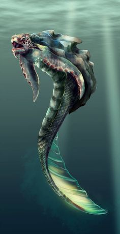 Water monster by ~WielkiBoo on deviantART Mythical Water Creatures, Alien Creatures, Mythological Creatures, Magical Creatures, Sea Creatures Drawing, Monster Concept Art, Fantasy Monster, Monster Art, Creature Feature
