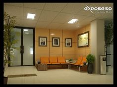 Calming and Welcoming Office Waiting Room in Soft Orange