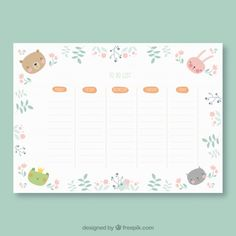 More than a million free vectors, PSD, photos and free icons. Exclusive freebies and all graphic resources that you need for your projects Kids Planner, Weekly Planner Printable, School Planner, Planner Pages, Planner Stickers, Timetable Planner, Timetable Template, School Timetable, Bullet Journal Ideas Templates