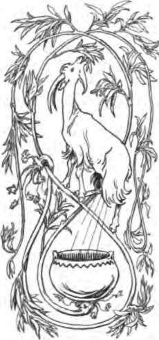 Heidrun est la chèvre qui, du sommet de la Valhöll, broute le feuillage de Lærad, et dont les pis procurent de manière inépuisable de l'hydromel aux einherjar. Elle est ici représentée par l'illustrateur suédois Lorenz Frølich. Pour en savoir plus : http://www.fafnir.fr/heidrun.html.