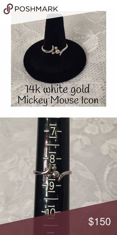 14k white gold Mickey Mouse Icon ring size 8.5 Who doesn't love Disney!  This is he cutest Mickey Mouse Icon ring in size 8.5 Disney Jewelry Rings