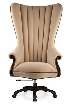 sumptuous office chair features delicately sculpted handcarved mahogany arms and a plunging scalloped back