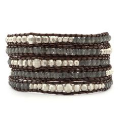 Beautiful.  Vetiver Jade Graduated Wrap Bracelet with Silver Indian Beads on Tamba Leather