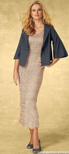 Crochetemoda: Vestido de Crochet Bege