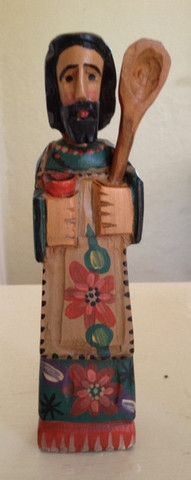 San Pascual, the patron saint of kitchens & cooks, handcarved in Guatemala by Coleccion Luna's indigenous partners