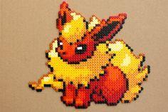 Flareon Pokemon Hama Perler Bead Sprite Red by StrepiePixelCrafts