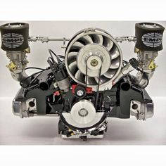 """VW air cooled - twin Webber downdraft carbs, Porsche-style fan & shroud """"Yummy, just have to sell the diamonds"""" KB Vw Beach, Beach Buggy, Vw Gol, Vw Cabrio, Cabriolet, Vw Engine, Motor Engine, Motorcycle Engine, Porsche 356"""