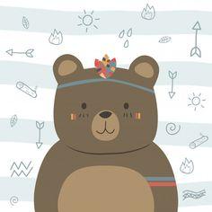Garabato tribal divertido lindo de la historieta del boho del oso de peluche marrón Vector Premium Brown Teddy Bear, Cute Teddy Bears, Cute Cartoon Animals, Cute Animals, Cute Drawings, Animal Drawings, Scrapbooking Image, Decoration Creche, Tribal Animals