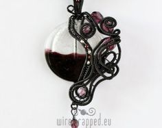 OOAK Purple and grey goth wire wrapped heart pendant by ukapala