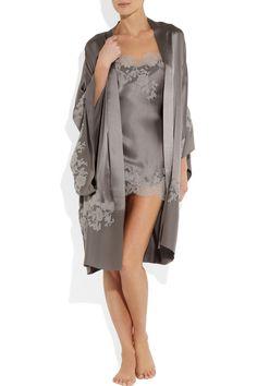 Carine Gilson | Sonia lace-appliquéd silk-satin chemise | NET-A-PORTER.COM
