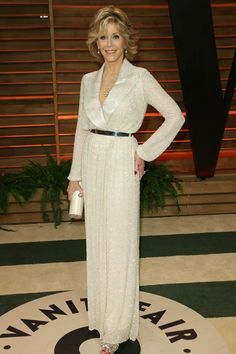 The Oscars 2014  A radiant Jane Fonda shows mature brides how to rock white in her gorgeous Nicholas Oakwell Couture gown.