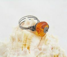 Amber ring wire wrap ring ring baltic amber amber by styledonna