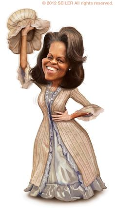 Michelle Obama [marthawashington] #Caricature #FunnyFaces