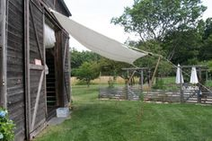 DIY outdoor awning. Get BRIGHT color for outside kids barn