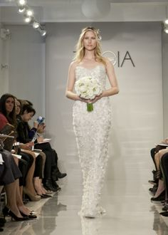 """THEIA Spring 2015 """"Gloria"""" Hand embroidered and beaded gown with silk organza flower appliques"""