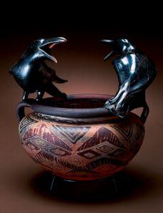 William Morris, Ravens on Urn,  Blown glass, steel stand