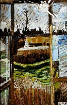 November Sun from Revolving Studio John Bratby, 1979 John Bratby, Still Life Artists, English Artists, A Level Art, Great Paintings, Window Art, Art Uk, Urban Landscape, Contemporary Paintings