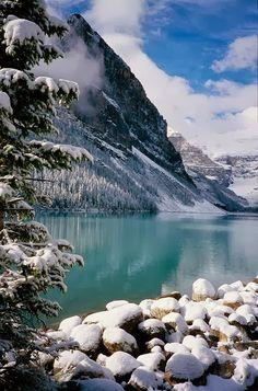 Snow at Lake Louise in Alberta, Canada