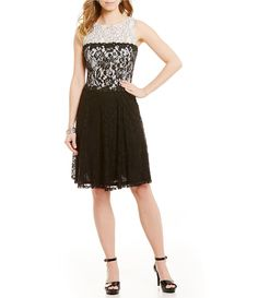 London Times Sleeveless Lace Drop Waist Dress | Dillards