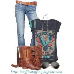 "Black ""rock"" style t, lt.-med. wash boot cut jeans, chestnut boots, chestnut belt, chestnut satchel, teal earrings, multi strand necklace"