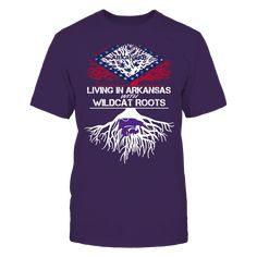 Kansas State Wildcats - Living Roots Arkansas T-Shirt, TIP: If you buy 2 or more (hint: make a gift for someone or team up) you'll save quite a lot on shipping.  Click the GREEN BUTTON, select your size and style.  The Kansas State Wildcats Collection, OFFICIAL MERCHANDISE  Available Products:          Gildan Unisex T-Shirt - $24.95 Gildan Women's T-Shirt - $26.95 District Men's Premium T-Shirt - $27.95 District Women's Premium T-Shirt - $29.95 Next Level Women's Premium Racerback Tank…