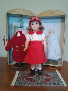 Original Bleuette and Wardrobe trunk with Petit Bob G.L. from au-nain-bleu-ii on Ruby Lane
