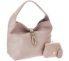 Dooney & Bourke Leather Hobo with Logo Lock and Accessories  Oyster in color.