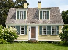 yellow cottage woth shutters   ... -330 (siding); Blue echo AF-505 (shutters); Swiss coffee OC-45 (trim