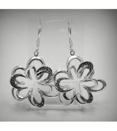 E000462 STERLING SILVER EARRINGS SOLID 925 FLOWERS NEW EMPRESS