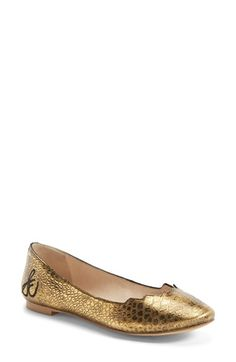 51dc656a556d5 Sam Edelman  Alaine  Scalloped Topline Flat (Women) available at  Nordstrom  Gold