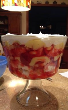 English Trifle (Julie's Eats & Treats recipe).  (⭐️⭐️⭐️/5) 11.28.13. Best if made for a party. Strawberries, bananas, pineapples, angel food cake, vanilla pudding, strawberry jell-o, cool whip.
