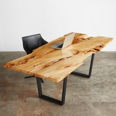 American elm single slab desk with black steel sled base