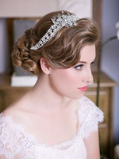 Your place to buy and sell all things handmade Headpiece Wedding, Bridal Headpieces, Wedding Garters, Wedding Veils, Wedding Dress, Crystal Crown, Wedding Hair And Makeup, Hair Jewelry, Wedding Jewelry