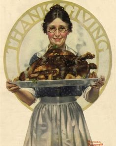 This was the first of two Norman Rockwell Thanksgiving illustrations to appear on the cover of The Literary Digest, November 22, 1919 / BIBLE IN MY LANGUAGE