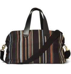 Paul Smith Patterned Leather-Trimmed Woven Holdall Bag