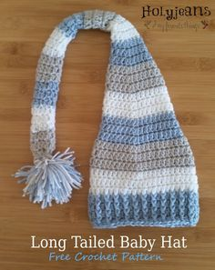Long Tailed Baby Hat Crochet Pattern – Holyjeans and My Favorite Things - Baby Mütze Stricken Crochet Baby Hats Free Pattern, Crochet Kids Hats, Crochet Mittens, Crochet Beanie, Love Crochet, Filet Crochet, Crochet Crafts, Crochet Projects, Crochet Pattern