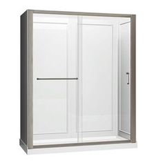 Dreamline Infinity-Z Brushed Nickel Acrylic Wall Acrylic Floor 3-Piece Alcove Shower Kit (Common: 34-In X 60-In; Actual: