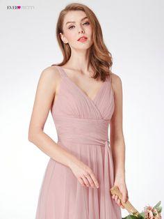 Blush Pink družičky šaty někdy EP07303 Sweetheart A-line V-krk bez rukávů  svatební party šaty Elegantní pro ženy. Dusky Pink Bridesmaid DressesPink  ... 840eb47195e8