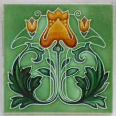 Rare Antique Art Nouveau Tile c1905 Excellent Condition (REF01)